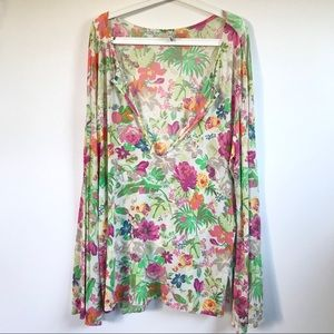 Etro Floral Print V-Neck Long Sleeve Top